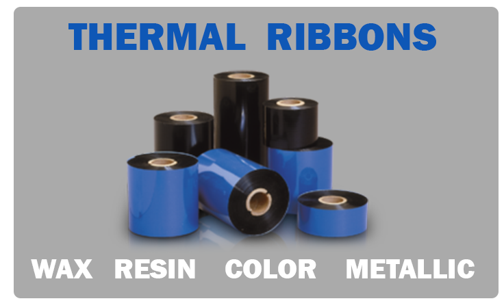 Rolls of wax, resin, color, and metallic thermal ribbons